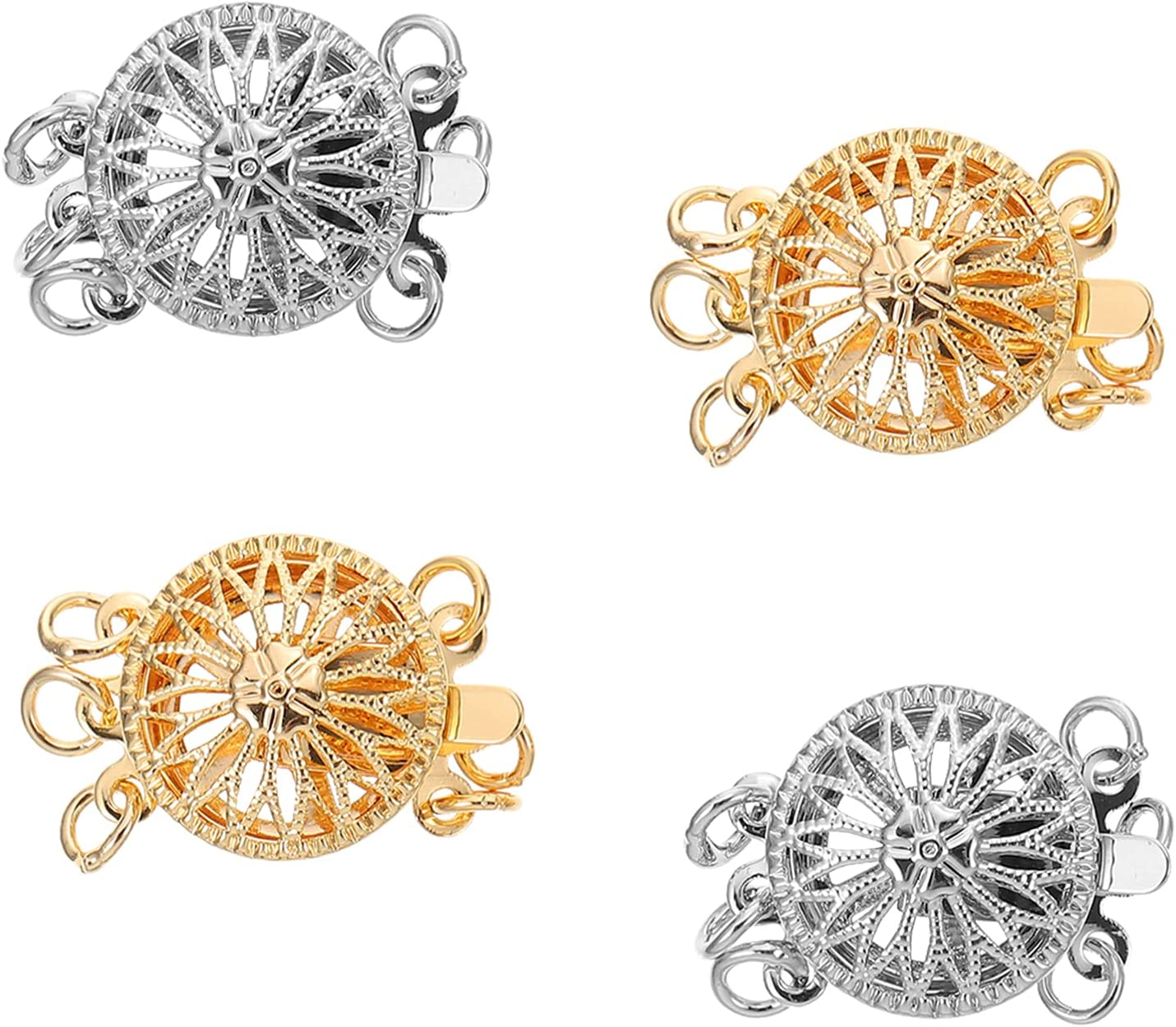 EXCEART 4pcs Necklace Attention brand Clasp Filigree Special price for a limited time Beads Lobster Sunflower Cla
