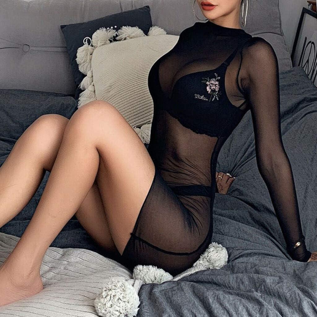 Sheer Mesh See-Through Long Sleeve Crop Tops Clubwear Mini Dress Teddy Dress Nightdress VANSOON Lingerie for Women for Sex