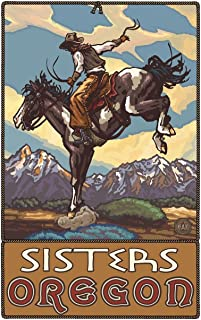 Sisters Oregon Bucking Horse Cowboy Travel Art Print Poster by Paul A. Lanquist (12