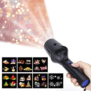 LUXONIC Portable Handheld LED Projector Flashlight Light 2 in 1 Decoration Projector Lamp Battery Operated with 7 Animated Pattern Slides and Tripod Holiday Projection Lamp for Kids, Birthday
