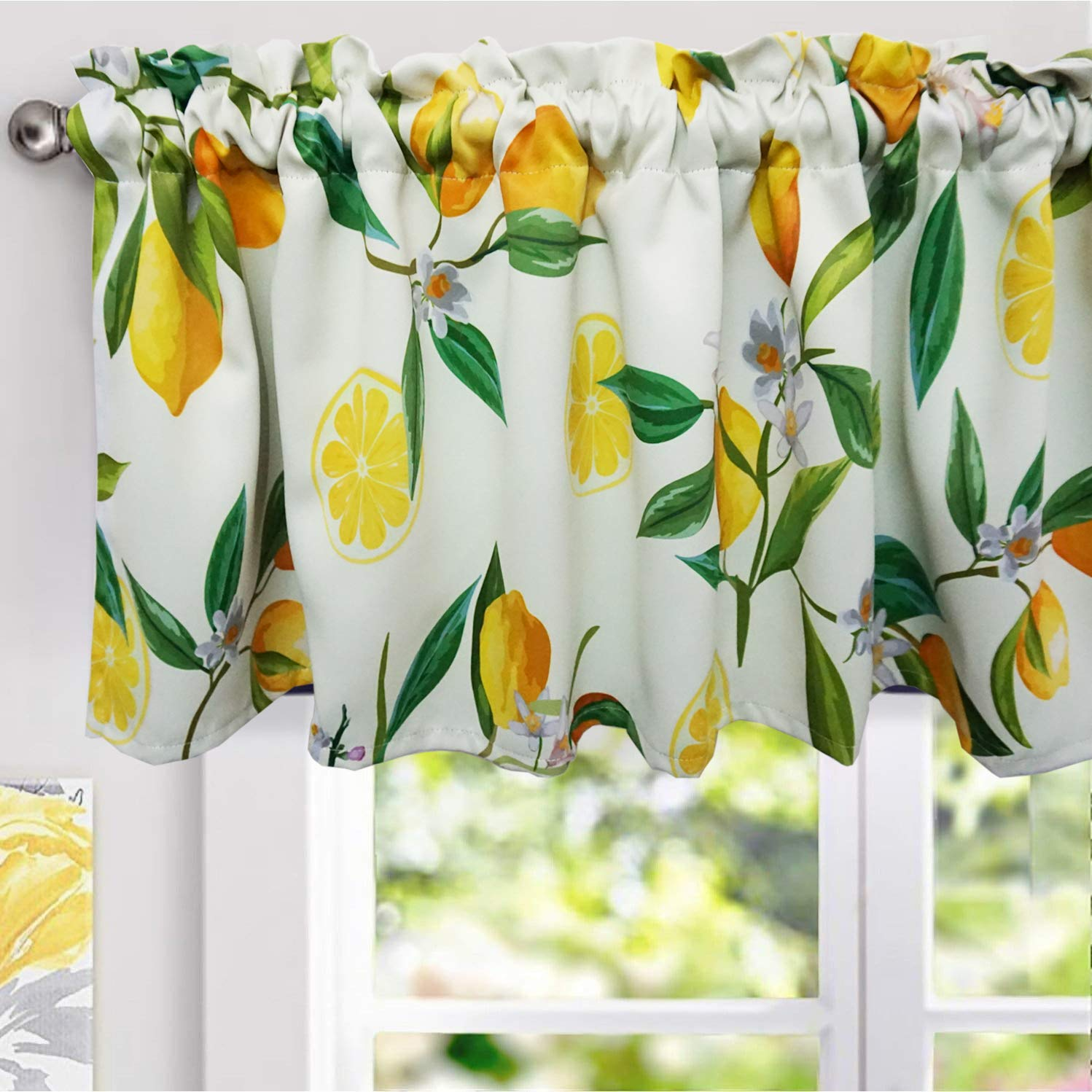 Amazon Com Yokii Lemon Valances For Windows 52 W X 18 L Room Darkening Vintage Floral Curtain Valance Window Treatments For Kitchen Bathroom Living Room Decors W52 X L18 Yellow Kitchen Dining