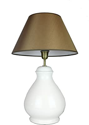 Signature Home Collection CI-B/1000/55/M+CO-SI-A207 Lampe de table en céramique avec abat-jour en tissu Blanc crème (pied)/vert olive-or (abat-jour) 40x40x65cm