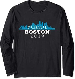 Boston 2019 Skyline Marathon Shirt - Long Sleeve - Blue