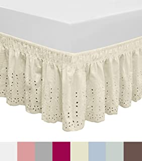 QSY Home Wrap Around Elastic Eyelet Bed Skirts Dust Ruffle Three Fabric Sides Easy On/Easy Off Adjustable Polyester Cotton 14 1/2 Inches Drop(Ivory Queen/King)