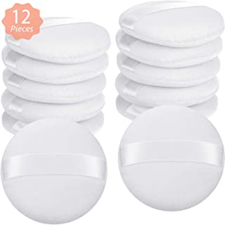 12 Pieces Cotton Powder Puffs Round Large Size with Strap Makeup Loose Powder Puff for Face Body (White, 3.9 Inch)