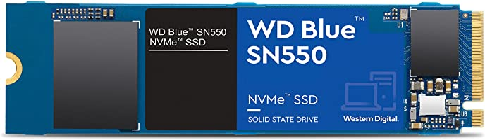 Western Digital WDS100T2B0C Blue SN550 1TB NVMe SSD 2400MB/s 1950MB/s R/W 600TBW 410K/405K IOPS M.2 2280 PCIe Gen 3 1.7M...