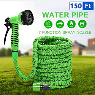 Speedy Panther 150ft Expandable Garden Hose for Garden Watering Multi-Function Flexible Water Hose Pipe Kit with 7-in-1 Spray Gun Nozzle (150FT (45m))