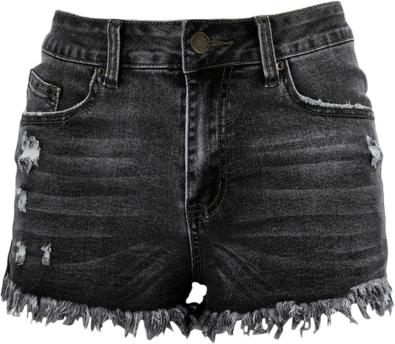 Women's Fringed Denim Shorts Low Rise Holes Raw Hem Jean Short Ripped Cat Whiskers Slimming Summer Short Trousers