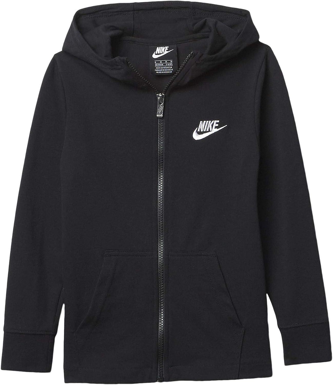 Nike Boy's Lightweight Full Zip Hoodie (Little Kids) Black 5 Little Kids