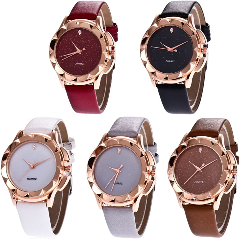 CdyBox Wholesale PU Leather Crystal Star Rhinestone Watch Pack 5 trend Outstanding rank