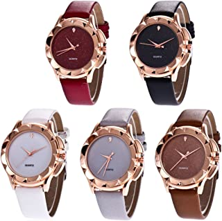 CdyBox Wholesale PU Leather Crystal Watch 5 Pack Rhinestone Starry Sky Wristwatches for Women Girls Gift