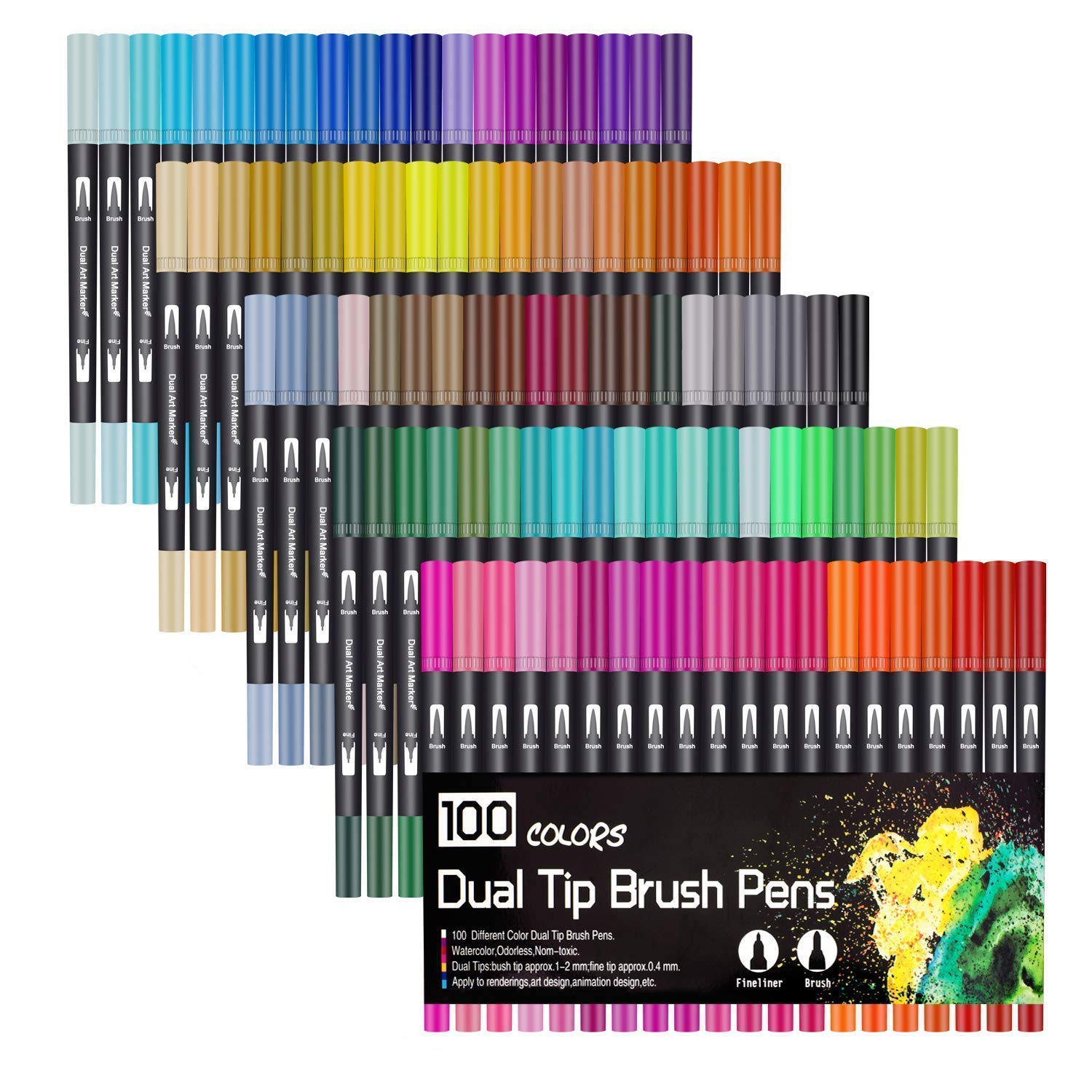 72 Color Dual Tip Brush Pens 0.4mm fineliners Pens Felt Tip Pens 1-2mm Watercolour Brush Pens Brush Tip Art Markers for Adults and Kids Colouring Sketching Painting Birthday Gift for Girl