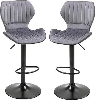 HOMCOM Lot de 2 Tabouret de Bar Design Contemporain Hauteur d'assise réglable 60-82 cm pivotant 360° Repose-Pied Velours Gris