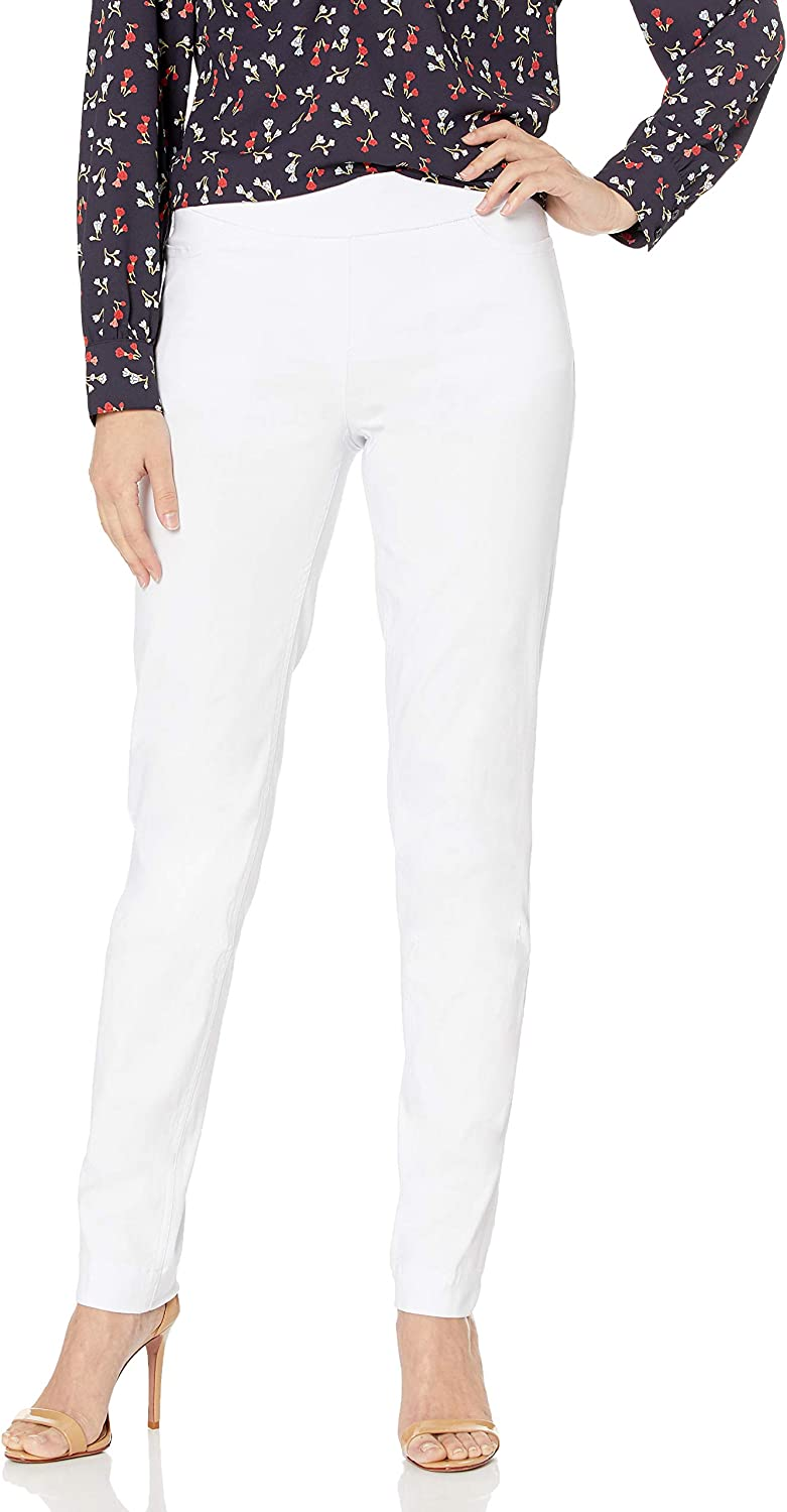 SLIM-SATION Women's Wide Band Pull on Straight Leg Pant with Front Pocket
