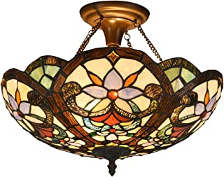 DOCHEER Stained Glass Tiffany Ceiling Fixture Lamp Semi Flush Mount 16.5 Inch Shade for Dinner Room Pendant Hanging 2 Light