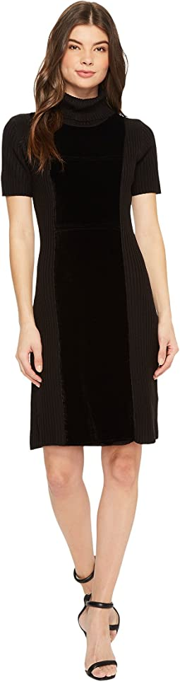 Calvin Klein - Velvet Front Turtleneck Dress