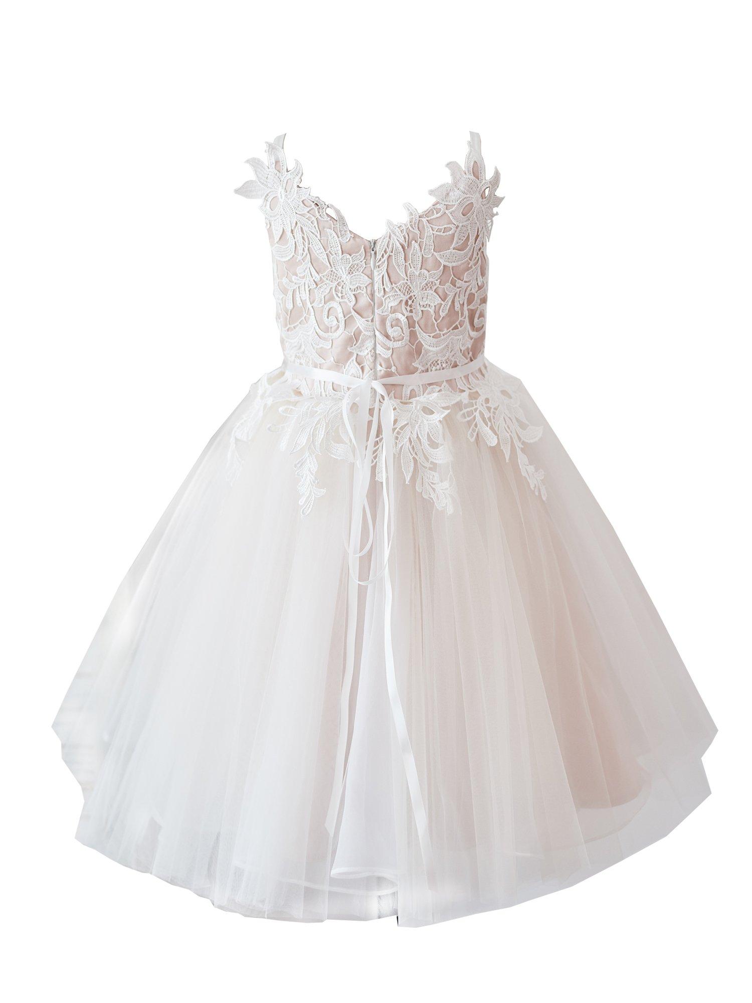 Miama Lace Tulle Straps Wedding Flower Girl Dress Junior Bridesmaid Dress
