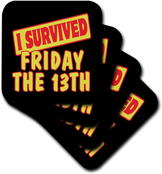 3dRose CST 117935 2 I Survived Friday The 13th Survial Pride And Humor Design Soft Coasters Set Of 8