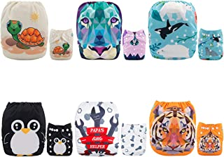 ALVABABY Baby Cloth Diapers 6 Pack with 12 Inserts Adjustable Washable and Reusable Pocket Dipaers Baby Girls 6DM47