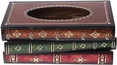 Lobounny Retro Style Book Shape Wooden Print Tissue Box Bathroom Vanity Home Decoration