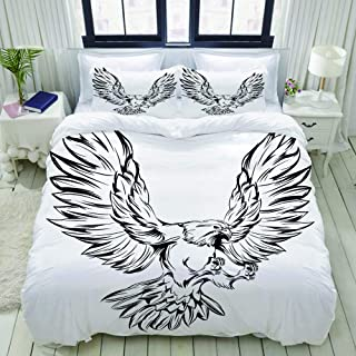 LUNASVT Monochrome Eagle During Landing with Raised Wings and Outstretched Talons Decorative Custom Design 3 PC Bedding Set 1 Duvet Cover with 2 Pillow Shams King