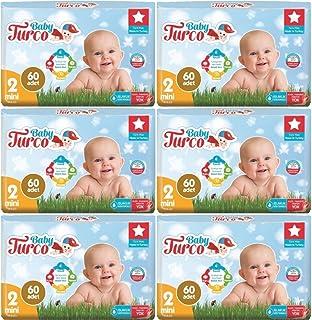 Baby Turco Bebek Bezi Jumbo Beden:2 (3-6Kg) Mini 360 Adet (6Pk*60)
