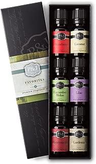 P&J Trading Favorites Set of 6 Premium Grade Fragrance Oils - Strawberry, Lilac, Cucumber Melon, Coconut, Gardenia, Honeysuckle - 10ml
