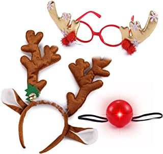 JOYIN Reindeer Antler Headband Set with LED red Nose and Gold Glasses, ONE Size FIT All