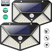 Solar Lights 100 LED Outdoor, 2000 Lumens Waterproof Wireless Solar Motion Sensor Lights Light with 125° Motion Angle Secu...
