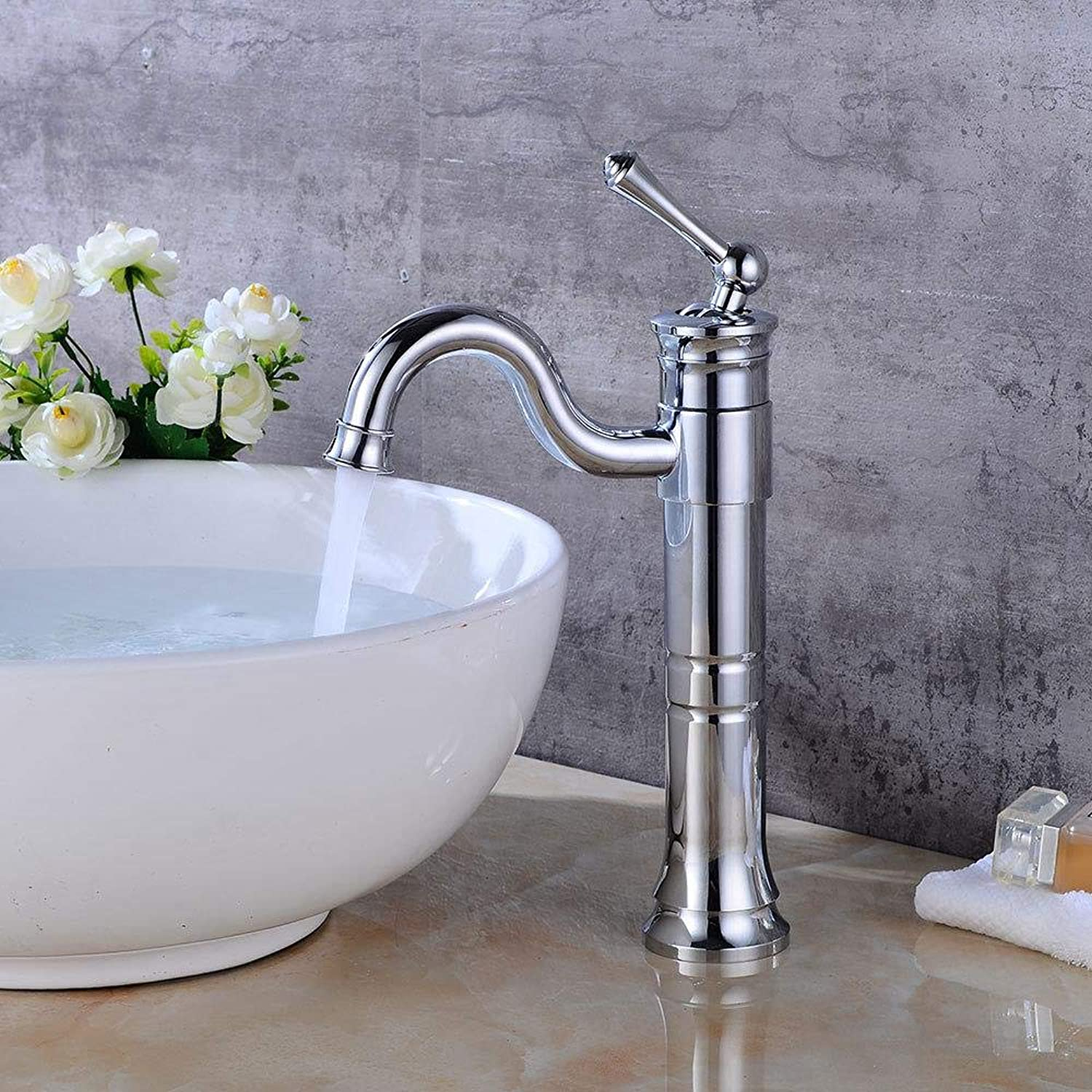 Tap Electroplating Basin Faucet Above Counter Basin redating Faucet Bathroom Waterfall Hot and Cold Faucet Retro Basin Faucet