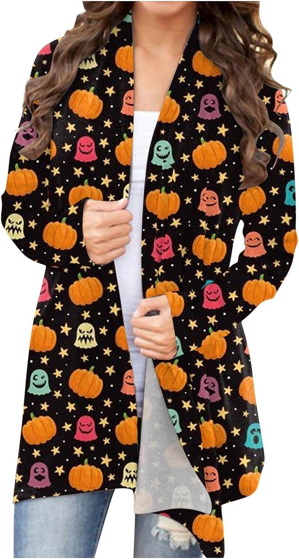 AODONG Halloween Cardigan for Women,Womens Graphic Coat Long Sleeve Pumpkin Print Lightweight Open Front Knitt Cardigans