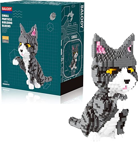 discount Grey new arrival Fluffy Cat 3D Puzzle Mini Blocks Kitten Set - 1300 Stacking Bricks Animal outlet sale Kit for Building Your Own Pet by BLOCK CENTER online sale