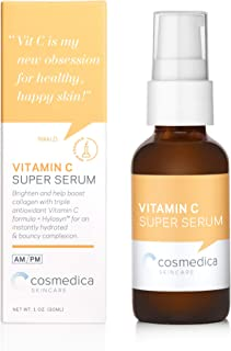 Vitamin C Super Serum 3 variations of Vitamin C + hyaluronic acid + vitamin E Natural Extracts and Organic Ingredients, Best Anti-Aging Serum , Hydra C Serum, 1 Ounce