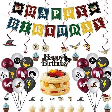 Mago Decorazioni Compleanno,32 pcs di Forniture per Feste di Compleanno di Magico,Decorazioni per Feste Palloncini a Tema HP per Bambini,Striscione di Buon Compleanno,Decorazioni per Cupcake Toppers