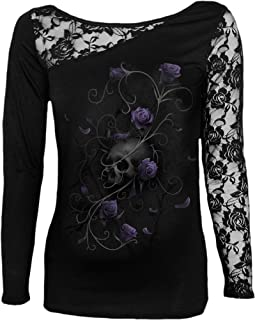Womens - Entwined Skull - Lace One Shoulder Top Black