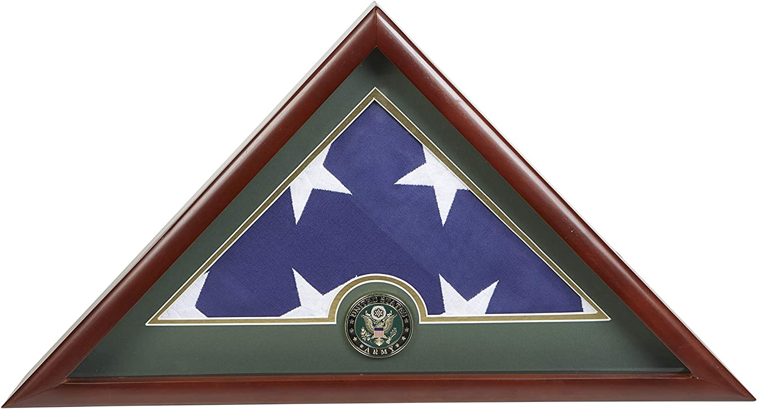 Allied Frame US Army Internment American Burial Flag Display Case with Official Army Medallion and US Internment Flag