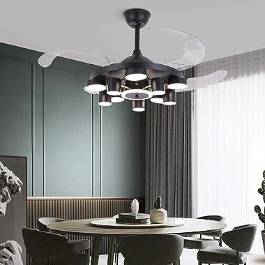 52'' Ventilateur de plafond avec éclairage et télécommande E14 Ventilateur Lampe avec 4 lames Ventilateur pliable à v
