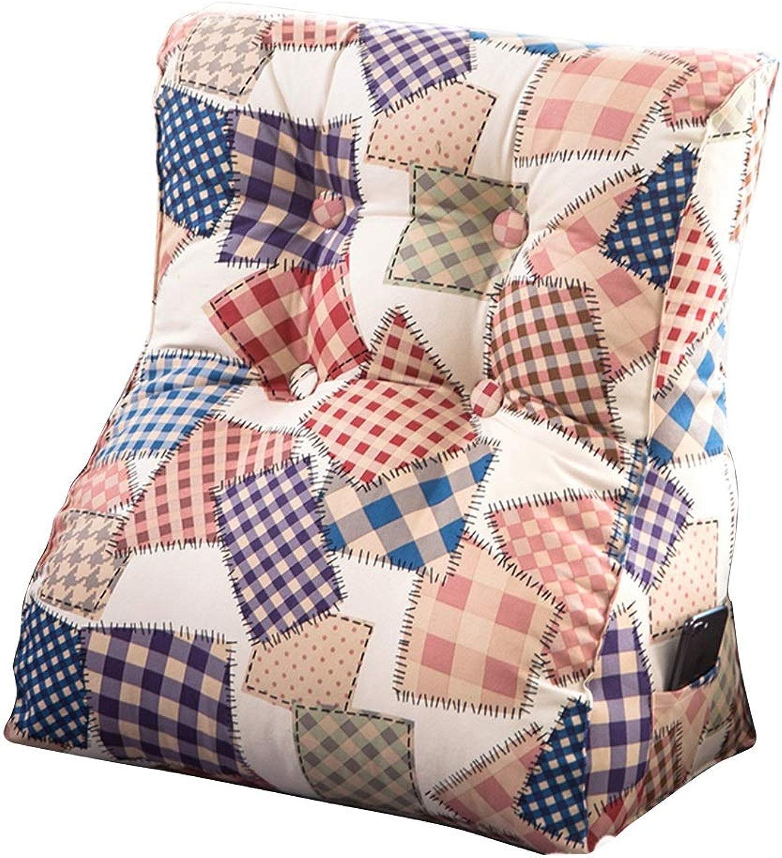 Coussin en tissu pour canapé-lit Tapis de coin de lecture pour salon et chambre à coucher, coussin de soucravaten lombaire de dossier triangulaire en coton lavable pour canapé, lits, canapés, chaises 60