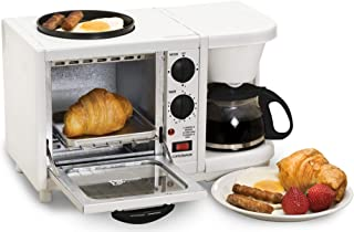 Maxi-Matic EBK-200 3-in-1 Breakfast Station Toaster Oven with Timer, Griddle, Medium, White