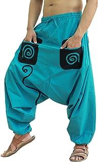 Sarjana Handicrafts - Pantaloni modello baggy in cotone con tasche, da Uomo