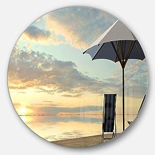 Designart Deck Chairs and Umbrella on Beach Modern Seascape Metal wall Art - Disc of 23, 23X23-Disc of 23 inch