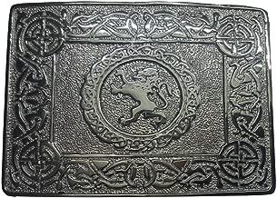 AAR Scottish Kilt Belt Buckle 2 Thistle Emblem Celtic Knots Chrome Finish