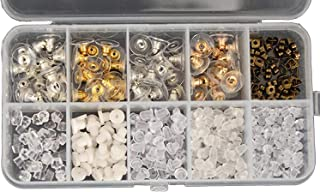 Tuercas para pendientes, 10 estilos, cierre de bala, cierre de silicona, cierre de metal, de goma, de plástico, para mayor seguridad
