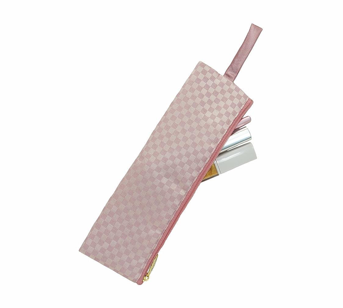透けて見える予防接種するサロンナラヤ NaRaYa 細型 メイクブラシケース (化粧ポーチ)M?ミニチェック(ピンク) NBCS-166A