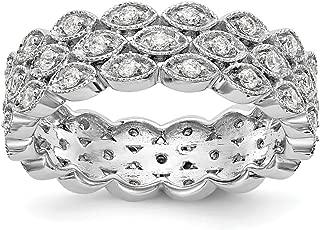 FB Jewels 14K White Gold SI2-I1(H-I) Round 1/2 CTW 3 Row Marquise Shaped Diamond Eternity Wedding Band