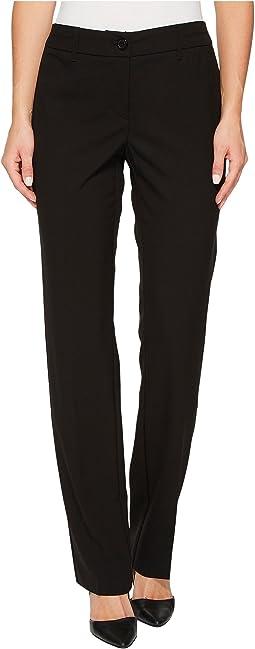 "Zip Front Crepe 32"" Straight Leg Pants"