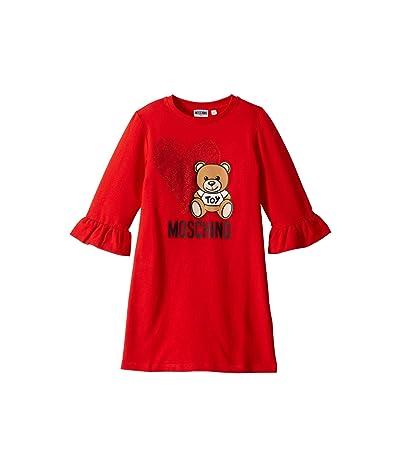 Moschino Kids Dress w/ Heart Toy Bear (Big Kids) (Poppy Red) Girl