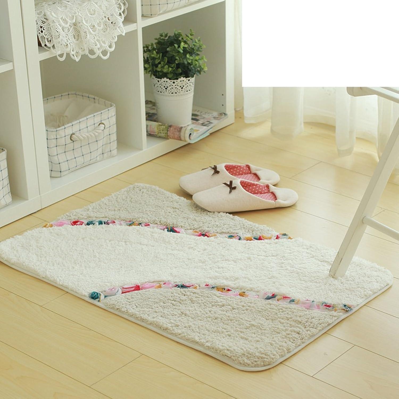 Square pink chenille bed bedroom mats Cotton slip absorbent pad doormat floor mat-A 50x80cm(20x31inch)