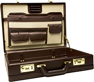 RoadPro CAP-003PM/BN Premium Brown Leather-Like Expandable Briefcase