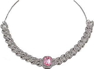 قلادة سلسلة من حجر الراين قلادة سلسلة ربط كوبية للرجال النساء مجوهرات بلينغ